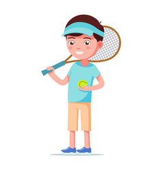 cartoon boy standing with a tennis ball and racket vector image