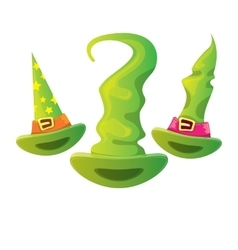 cartoon glossy green witch hat isolated vector image