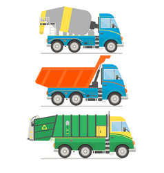 Cartoon transport set mixer truck dump truck vector