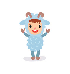 Cheerful kid in blue sheep jumpsuit with little vector