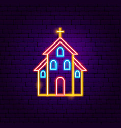 Church neon sign vector