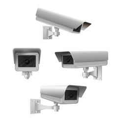 closed circuit television cameras realistic set vector image