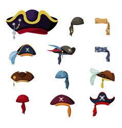 Colorful corsair and pirate hats set vintage vector