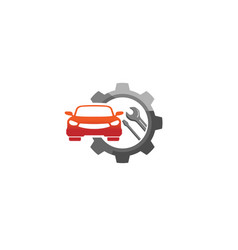 Creative red car gear wrench screwdriver logo vector