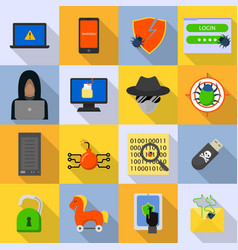 Cyber attack computer virus icons set flat style vector