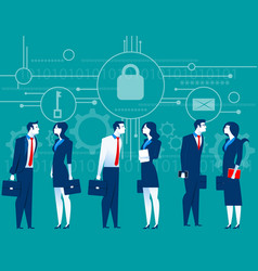 Cybersecurity business meeting security concept vector