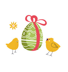 easter egg with decorated eggshell and chicken vector image