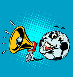 fan with megaphone football soccer ball funny vector image