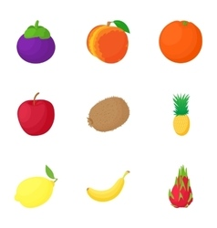 Farm fruit icons set cartoon style vector