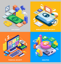 Financial security isometric set vector