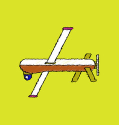 flat shading style icon military drone vector image