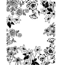 Flowers and plants engraving vector
