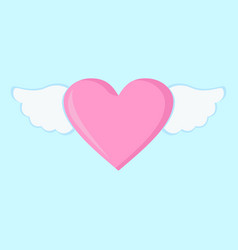 flying love heart wings graphic vector image
