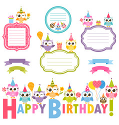 Frames with owls for birthday card vector