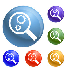 gear on magnify glass icons set vector image