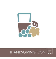 glass of fresh grape juice icon thanksgiving vector image
