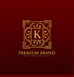 gold emblem monogram logo design for letter k vector image