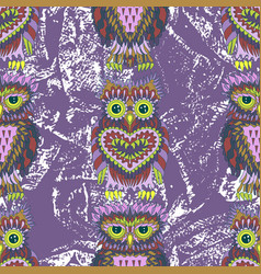 Hand drawn seamless pattern with owls vector