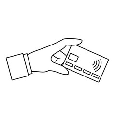 Hand nfc credit card icon outline style vector