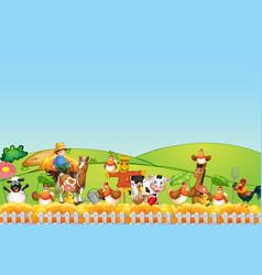 happy animals at farm vector image