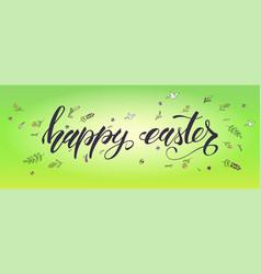 happy easter handwritten calligraphic text vector image