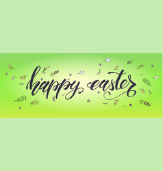 happy easter handwritten calligraphic text with vector image