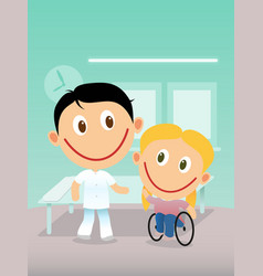 Happy physiotherapist and child in wheelchair vector