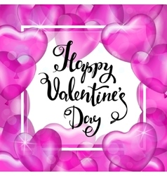 Happy Valentine s Day White Frame Pink Heart vector image