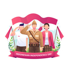 Heroes and women salute flag in celebration vector