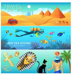 horizontal banners set egypt landscape tourism vector image