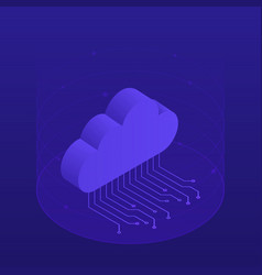 hosting concept with cloud data storage vector image