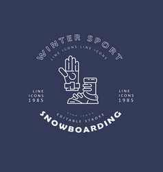 icon and logo for snowboarding and skiing vector image