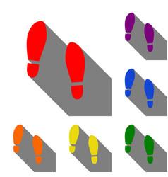 imprint soles shoes sign set of red orange vector image