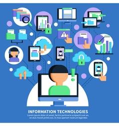 Information technologies flat vector