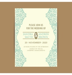 Invitation card with blue floral elem vector