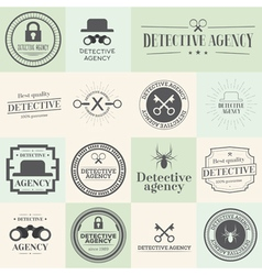 Label badges and stamps set for detective agency vector image