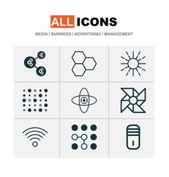 Learning icons set with data cells data structure vector