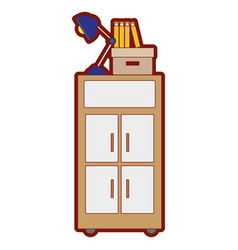 Line color cabinet archive with books and lamp vector