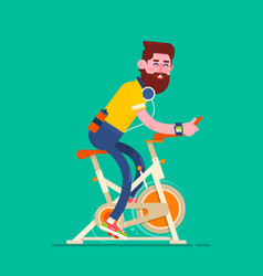 man exercising on stationary bikeboy on bicycle vector image