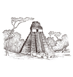 maya vintage pyramid aztec culture ancient vector image