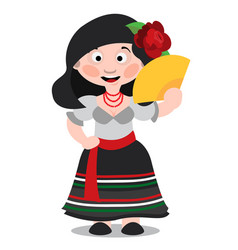 Mexican dancer girl cartoon character woman with vector