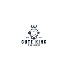 Monkey head line with crown logo design vector