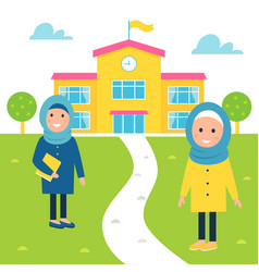 Muslim girls going to school vector