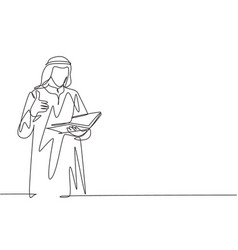 One single line drawing young male muslim vector
