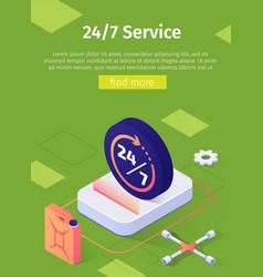 Online 24 to7 service poster car repair workshop vector