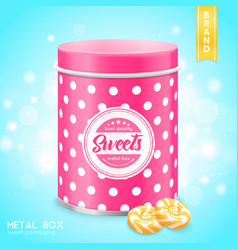 Realistic metal box for sweets vector