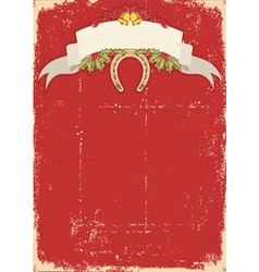 Red christmas card with horseshoe on old vector image