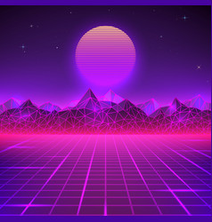 Retro landscape in purple colors futuristic vector