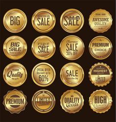 sale retro vintage golden badges and labels vector image