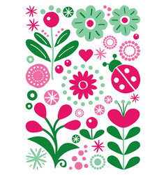 scandinavian folk art floral greeting card vector image